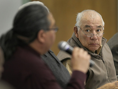 Sonny Abbot, Osage Mineral Council member, listens to comments during the Osage Tribe negotiated rule making committee meeting in Pawhuska.  The committee was there to discuss proposed changes in oil and gas laws in Creek County