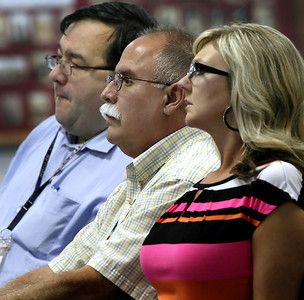 Charles Hurlbert, Richard Winlock and Cristy Hammond listen as the Osage Tribe negotiated rule making committee meets in Pawhuska to discuss proposed changes in oil and gas laws in Creek County