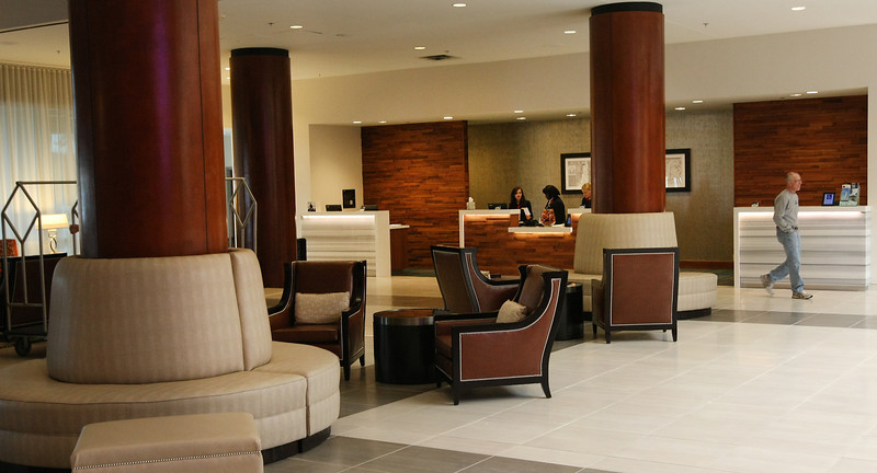 The main lobby at the newly remodeled Souther Hills Marriott in Tulsa.