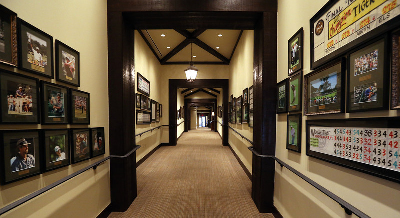 The hallway leading to  pro shop at the Tulsa Hills County Club.