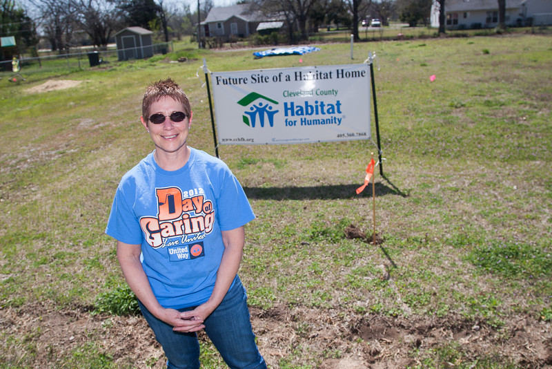 Jan Reed at the future site of two new homes in Norman, OK. Mrs. Reed is the project manager for the Cleveland County Habitat for Humanity.