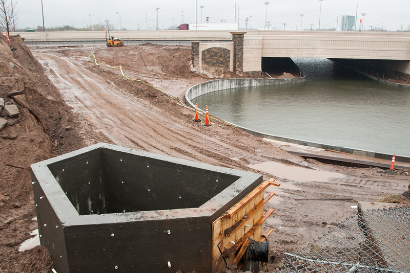 Expansion of the Oklahoma River towards the Bricktown Canal in Oklahoma City.