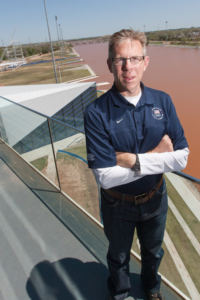 OCU rowing coach Micheal Knopp at the Finish Line Tower in Oklahoma City, OK.