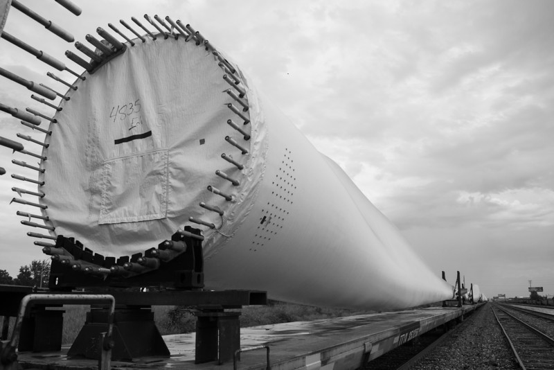 Rail cars carrying dozens of wind turbine blades just north of downtown Oklahoma City, OK.
