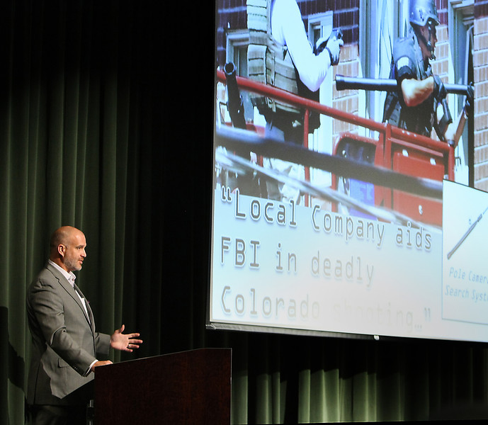 Ben Kimbro, Exec. VP. of Tactical Electronics gives his presentation at the 2013 Technology Showcase held at the NSU Broken Arrow campus.