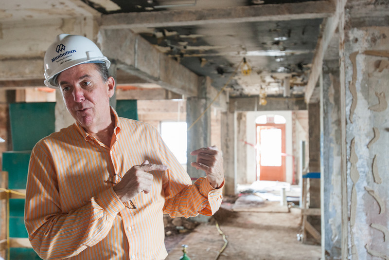 Jeff Erwin in the Osler Building in Oklahoma City, OK. The building is being remodeled in to a hotel and he will be manager when it opens in January 2014.