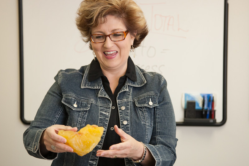 Rebecca Boston shows a prop she uses to demonstrate what two and half pounds of body fat looks like. Mrs Boston is with the OKC County Helath department and teaches a spanish language health and wellness classes that are open to the public.