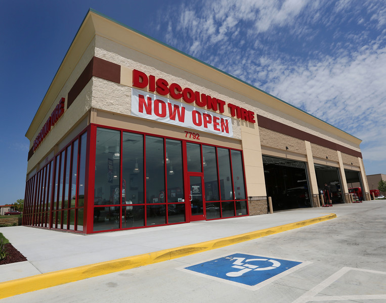 The Discount Tire center located in the Tulsa Hills shopping Center.