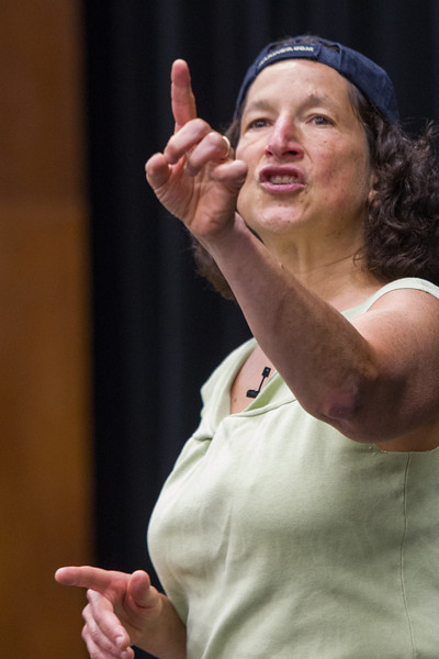 Story teller Judith Black speaking and performing at Rose State College in Medwest City, OK.