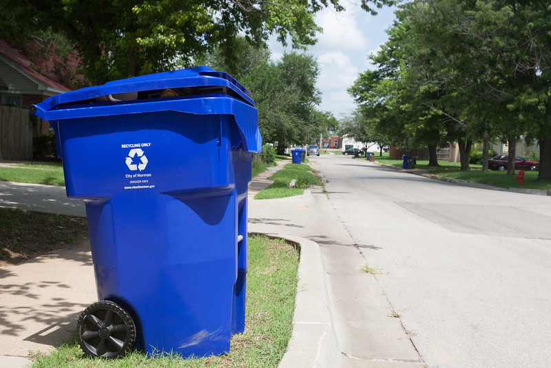 Recycling bins out for pick up in Norman, OK.
