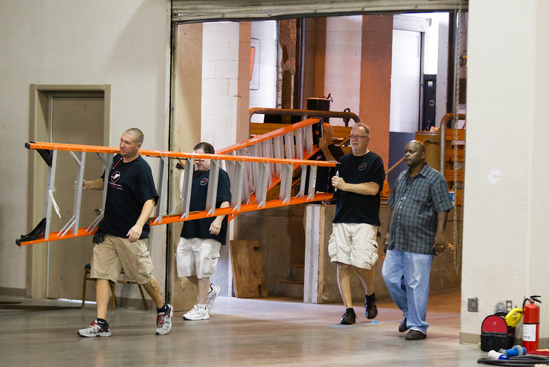 Event staff prepare the Cox Convention Center for The Indian Gaming Conference that begins on August 13th.