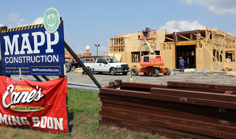 Work progresses on the Raising Cane's restaurant in Bixby.