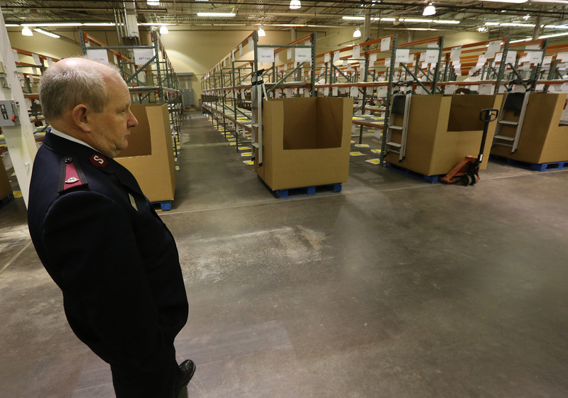 Salvation Army Major James Taylor at his Tulsa warehouse.