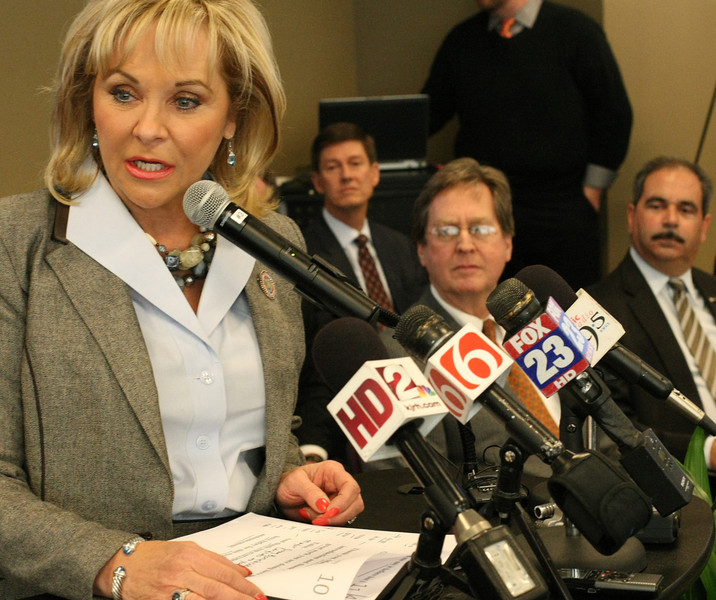A a press conference in Tulsa Tuesday Governor Mary Fallin helps annouce a $170 Million Macys distribution facility to be constructed in Owasso.