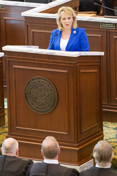 Governer Mary Fallin giving the State of the State address on the floor of the Oklahoma House of Repersenitives.