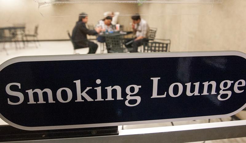 The smoking lounge in Leadershup Square.