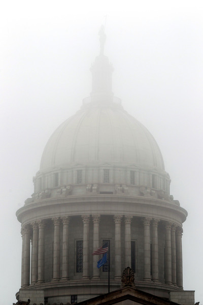 The Capitol dome on a foggy day.