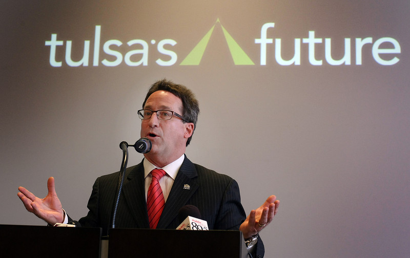 Mike Neal helps to announce that Tulsa  907 jobs in January under the Tulsa Regional Chamber's Tulsa's Future economic development program.