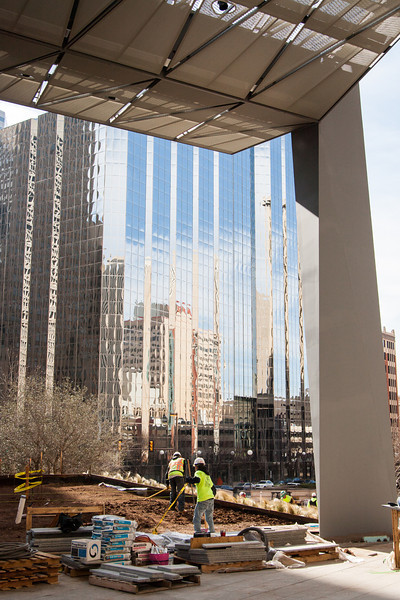 Construction on the Sandridge Energy campus in downtown Oklahoma City.
