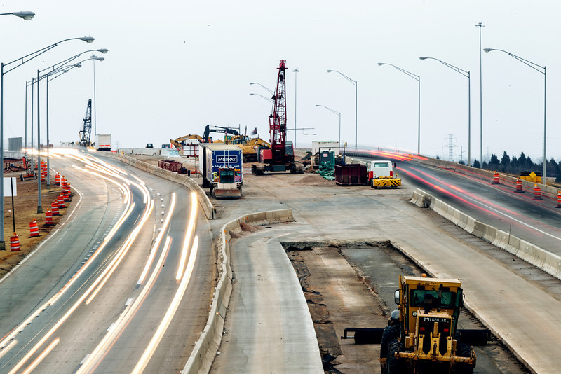 Construction on the Kirkpatrick Turnpike and Broadway Extension interchange.