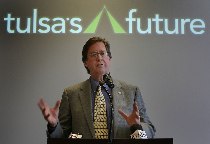 Mayor Dewy Bartlett helps to announce that Tulsa  907 jobs in January under the Tulsa Regional Chamber's Tulsa's Future economic development program.