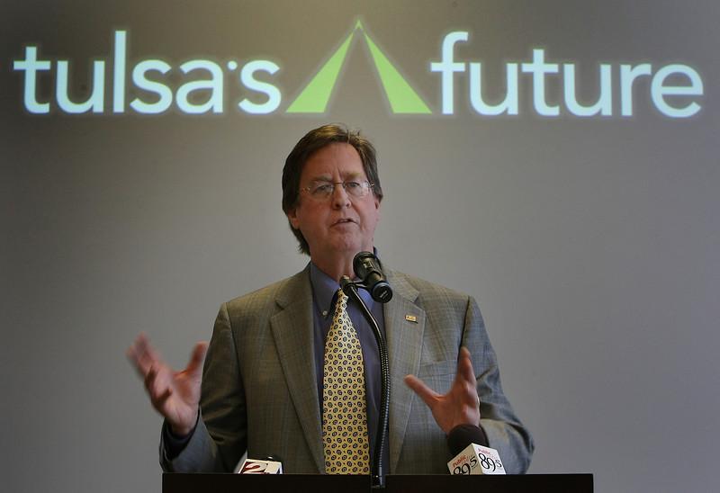 Mayor Dewy Bartlett helps to announce that Tulsa  907 jobs in January under the Tulsa Regional Chamber's Tulsa's Future economic development program.