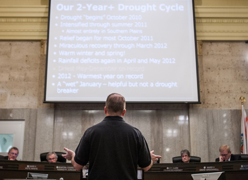 Gary McManus, associate climatologist for the state of Oklahoma, spoke with Oklahoma City Council about the posiability of a draught in 2013 and the effect this would have on water availability.