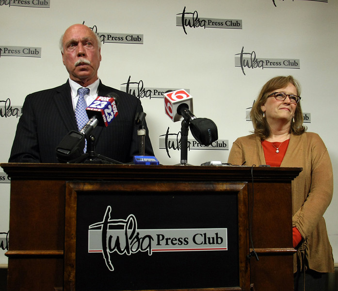 Executive Editor Joe Worley and Managing Editor Susan Elerbach of the Tulsa world announce at a press conference the sale of the paper to the BH Media Group.