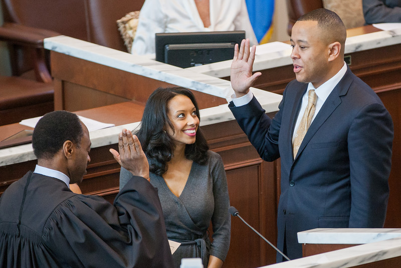 With his wife watching TW Shanon takes the oath of office as Oklahoma's first African-American speaker of the house.