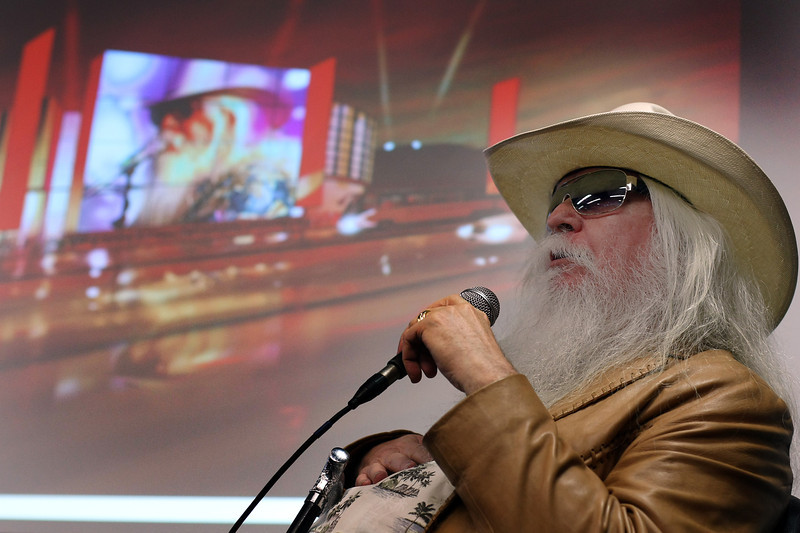 Leon Russell chats with the audience gathered at the announcement that the Oklahoma Historical Society acquisition of a large collection of works featuring a legendary, Grammy Award-winning Oklahoma musician.