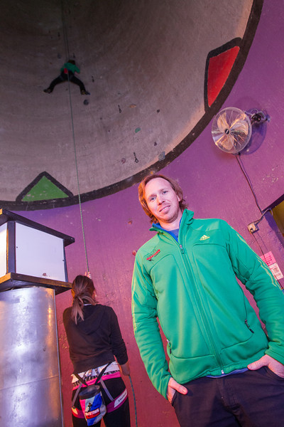 Aaron Gibson owns Rock Gym in Oklahoma City. The rock climbing facility was built into an abandon grain silo.