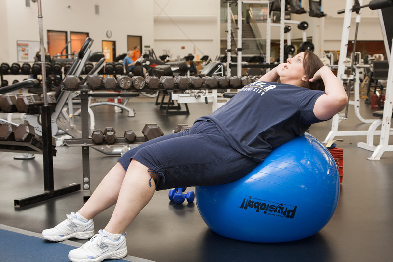 Intergris employee Sarah Johnston works out at the Integris PACER fitness center.