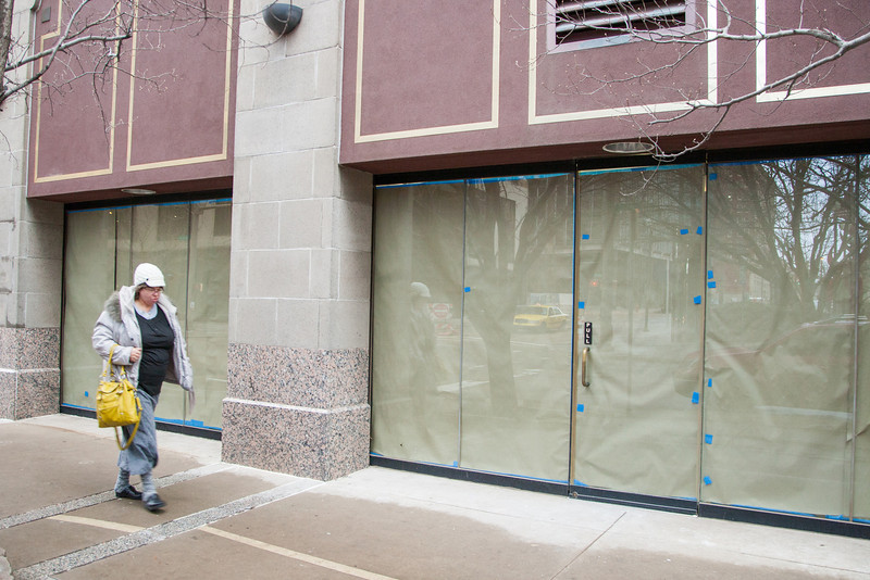 The retail space in the northwest corner of the Robinson Rennaisance is under renovation.