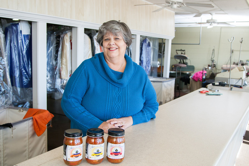 Owner of Rosebud Cleaners Susan Witt makes Ace in the Bowl salsa.