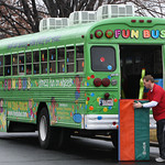 Steve Phillips, Co-Owner of the Fun Bus, packs up after a days work at a grade school in Tulsa.