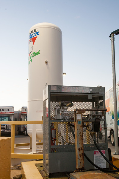 The U-Haul location at Memorial and Western is equiped to refill propane vehicals as well as tanks.