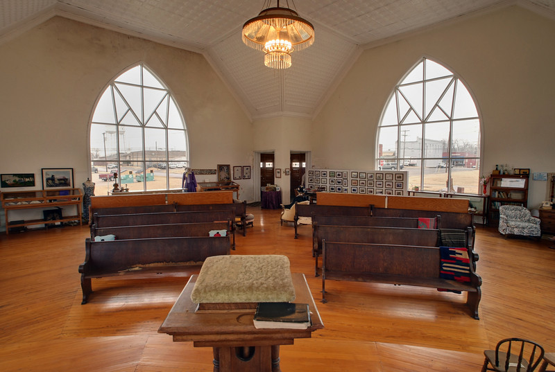The interior of the the Mission Bell Museum in Coweta.
