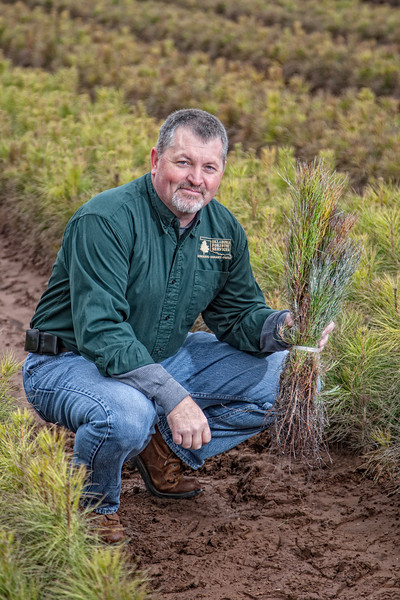 Scott Huff, with the Oklahoma Forestry Service. He is holding a bundle of 50 loblolly pine seedlings that are ready to be planted.
