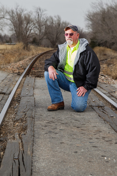 Ken Chaney, street superintendant for the city of Chickasha at railroad crossing on 29th Street in need of repair.