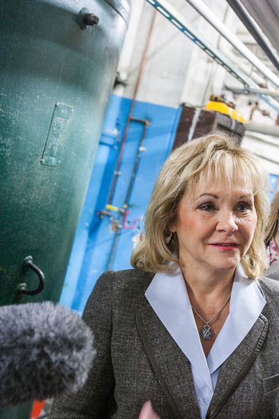 Gov. Mary Fallin hosted a tour of the capitol highlighting the areas that have fallen into disrepair. Many problem stem from the age of wireing and plumbing.