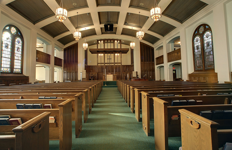 The main sanctuary in the Stillwater United Methodist Church.