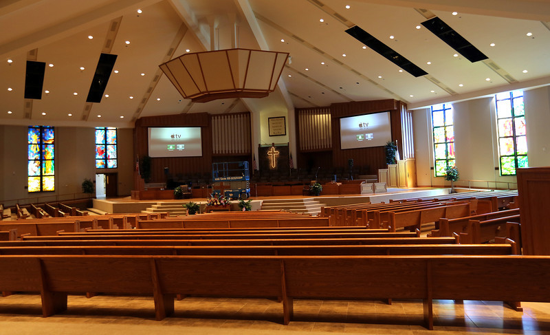 The sanctuary at the South Tulsa Baptist Church.