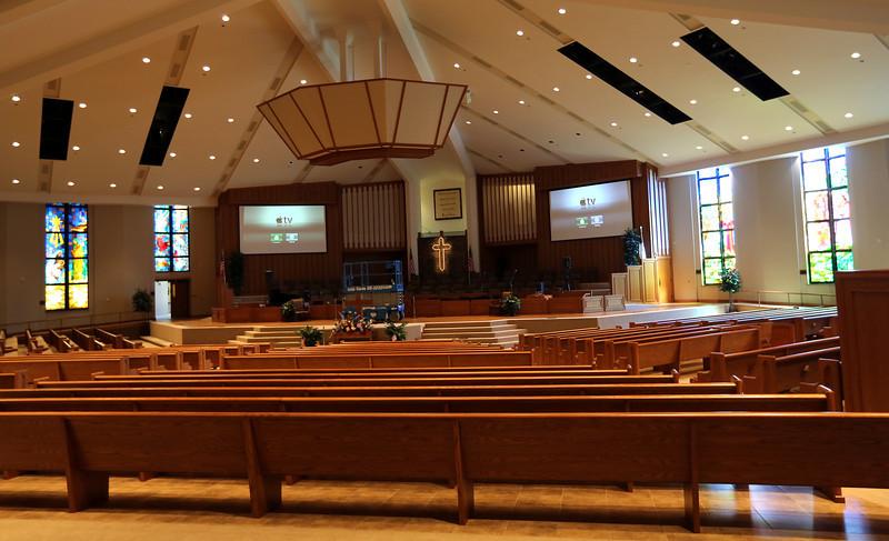 The sanctuary at the South Tulsa Baptist Church.