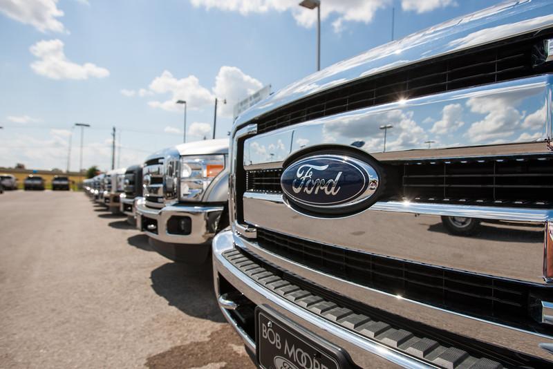 Ford trucks at Bob Moore Ford in Oklahoma City, OK.