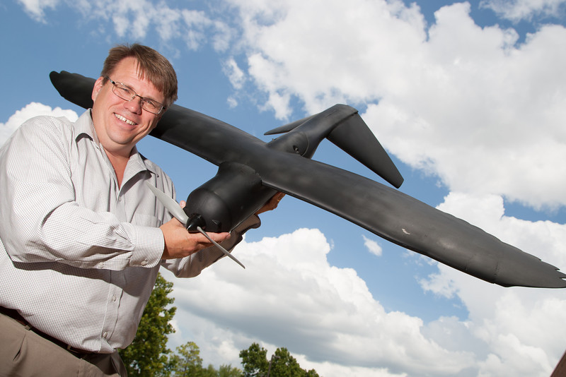 James Grimsley with a prototype UAV at the Aerospace Partnership and Collaberation Center in Midwest City, OK.