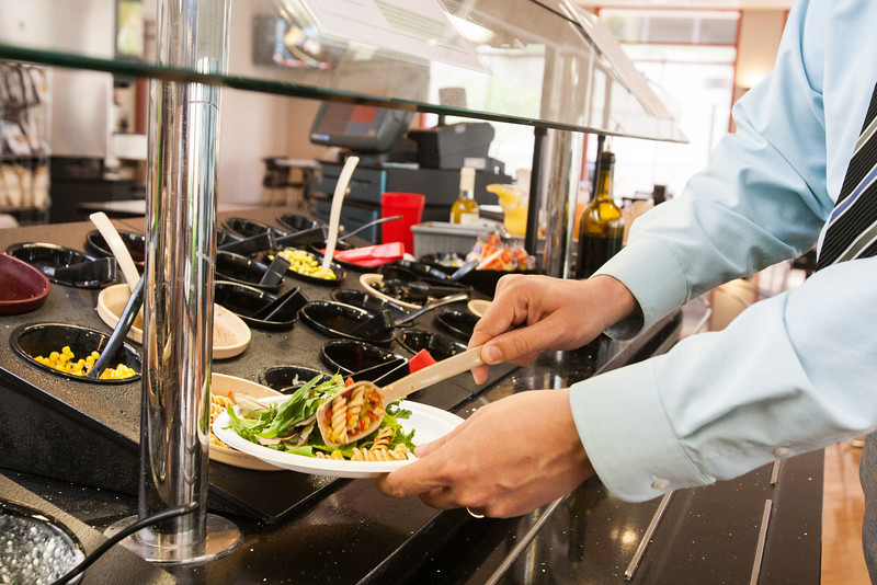 OMRF has doubled the size of their cafateria salad bar to encourage healthier lunch choices.