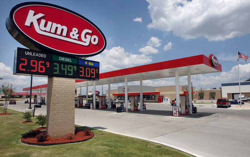 Low gasoline prices are displayed at the Kum&Go station in Broken Arrow.
