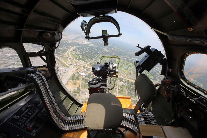 The view from the bombardiers position in the nose of the Experimental Aircraft Associations B-17, Aluminum Overcast as it flies over downtown Tulsa.