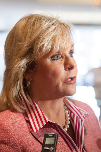 Gov Mary Fallin answers questions from the press outside a meeting of the National Luetenant Governers Association meting at the Skirvin Hotel in Oklahoma City, OK.