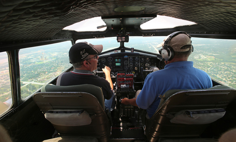 The view from the cockpit of the Experimental Aircraft Associations B-17, Aluminum Overcast as if flies over Tulsa.